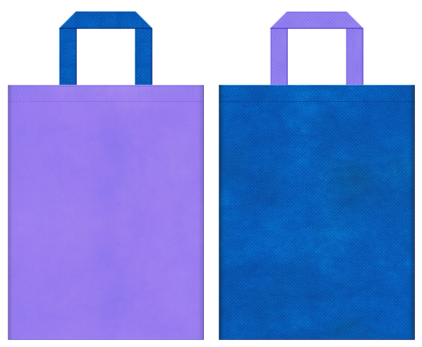 不織布バッグのデザイン:不織布カラーNo.32ミディアムパープルとNo.22スカイブルーの組み合わせ