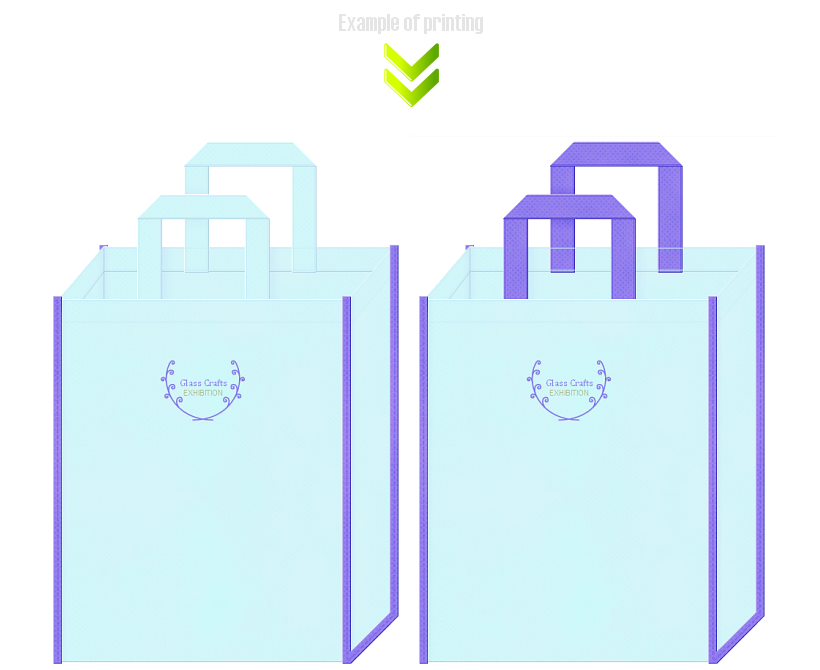 不織布バッグのデザイン:ガラス製品の展示会用バッグ