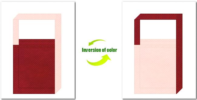 エンジ色と桜色の不織布ショルダーバッグ