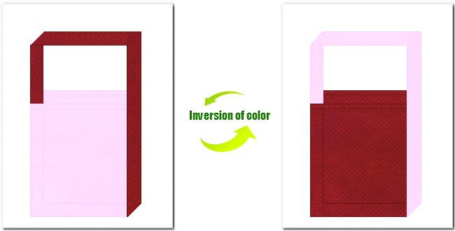 明ピンク色とエンジ色の不織布ショルダーバッグのデザイン