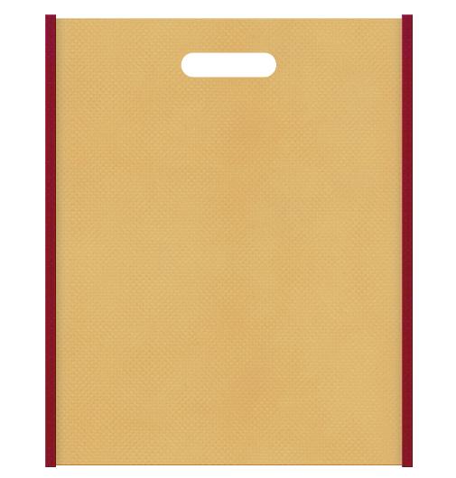 和風柄にお奨めの不織布小判抜き袋デザイン:メインカラー薄黄土色、サブカラーエンジ色