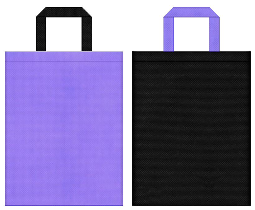 和傘・魔女・魔法使い・水晶・占い・伝説・神話・ヘアケア・ハロウィン・ウィッグ・コスプレイベントにお奨めの不織布バッグデザイン:薄紫色と黒色のコーディネート