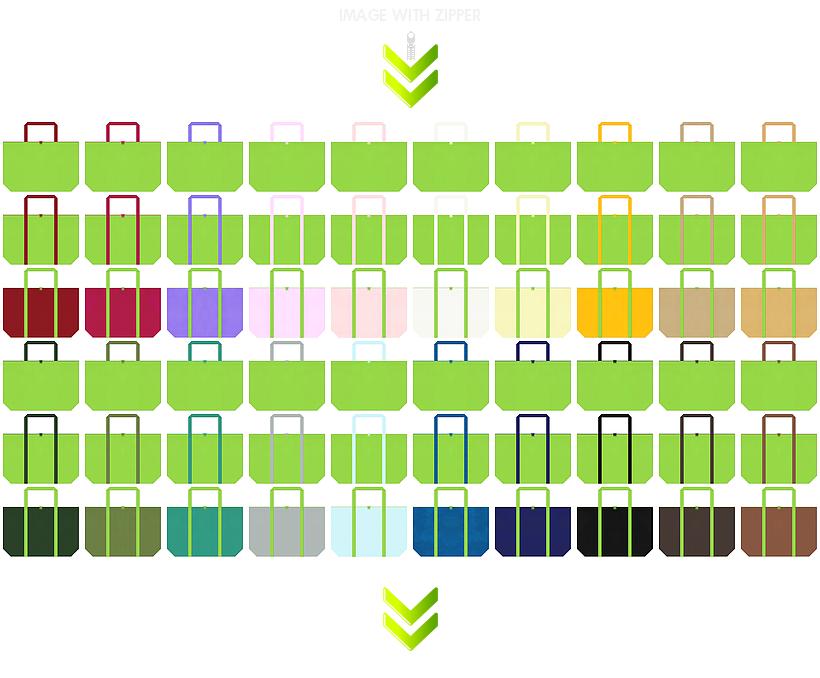 ファスナー付き不織布エコバッグの黄緑色デザイン84例:ゆるさ・ナチュラル感・パステルカラーがお奨めです。