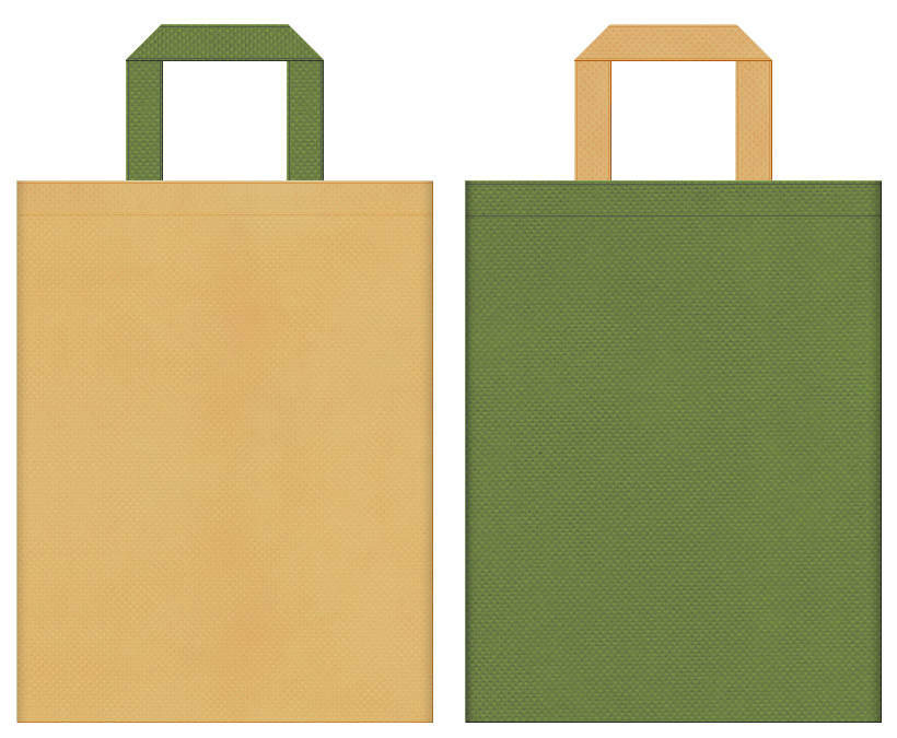 不織布バッグの印刷ロゴ背景レイヤー用デザイン:薄黄土色と草色のコーディネート:檜風呂の販促イベントや旅館のバッグノベルティにお奨めの配色です。