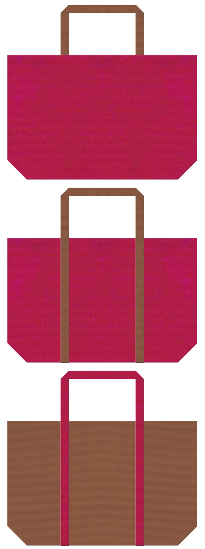 絵本・おとぎ話・南国・トロピカル・フルーツ・カクテル・リゾート・トラベルバッグ・ハワイアン・アロハシャツ・水着のショッピングバッグにお奨めの不織布バッグデザイン:濃いピンク色と茶色のコーデ