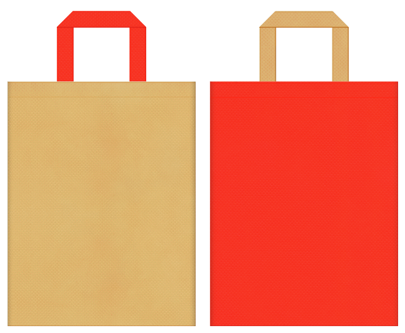 不織布バッグの印刷ロゴ背景レイヤー用デザイン:薄黄土色とオレンジ色のコーディネート:キッチン用品の販促イベントにお奨めの配色です。