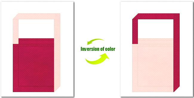 濃ピンク色と桜色の不織布ショルダーバッグ