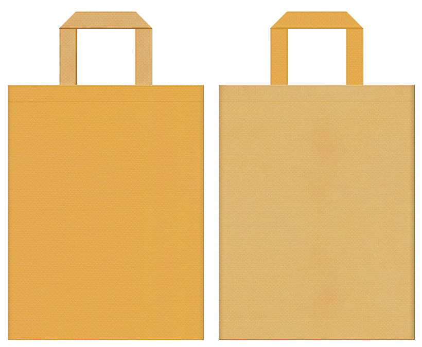 檜・から揚げ・クッキー・お料理教室・菓子パン・ベーカリー・木工・工作教室・DIYのイベントにお奨めの不織布バッグデザイン:黄土色と薄黄土色のコーディネート