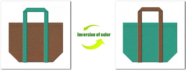 不織布No.7コーヒーブラウンと不織布No.31ライムグリーンの組み合わせのショッピングバッグ