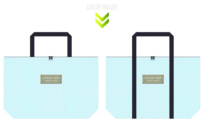 水色と濃紺色の不織布バッグのデザイン:クルージングの記念品