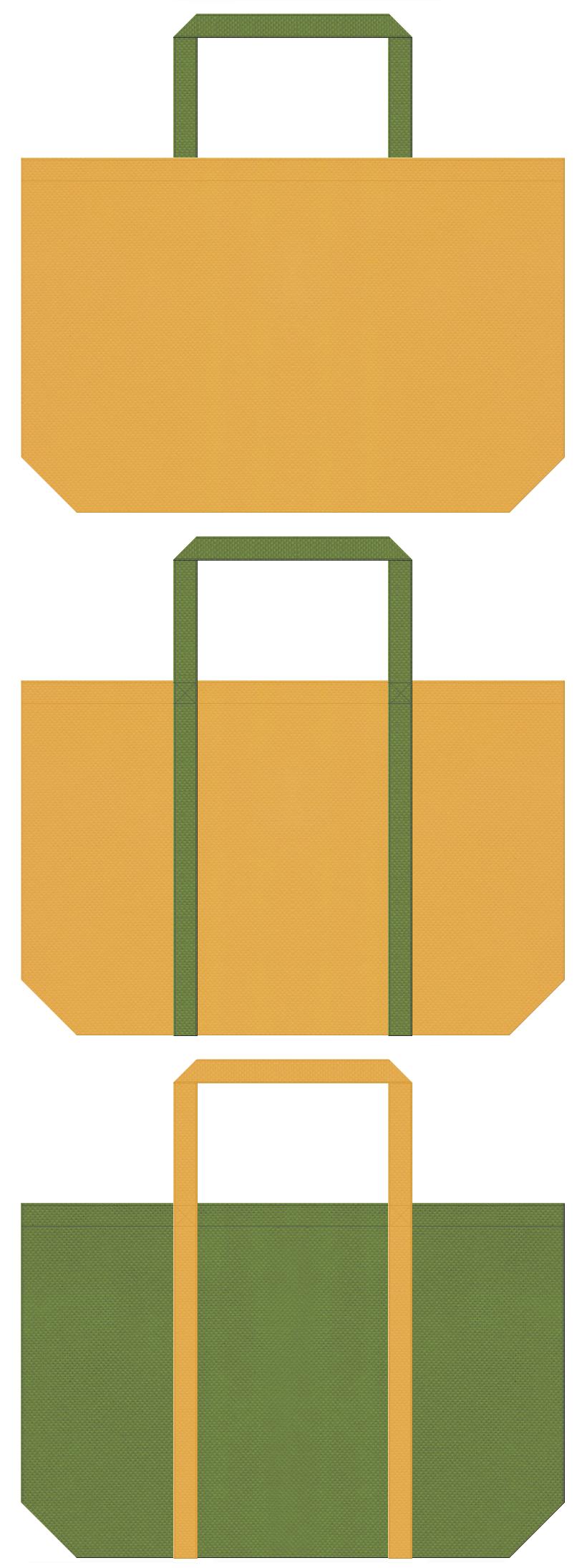 黄土色と草色の不織布ショッピングバッグデザイン。樽・桶・篭・江戸時代のイメージにお奨めの配色です。