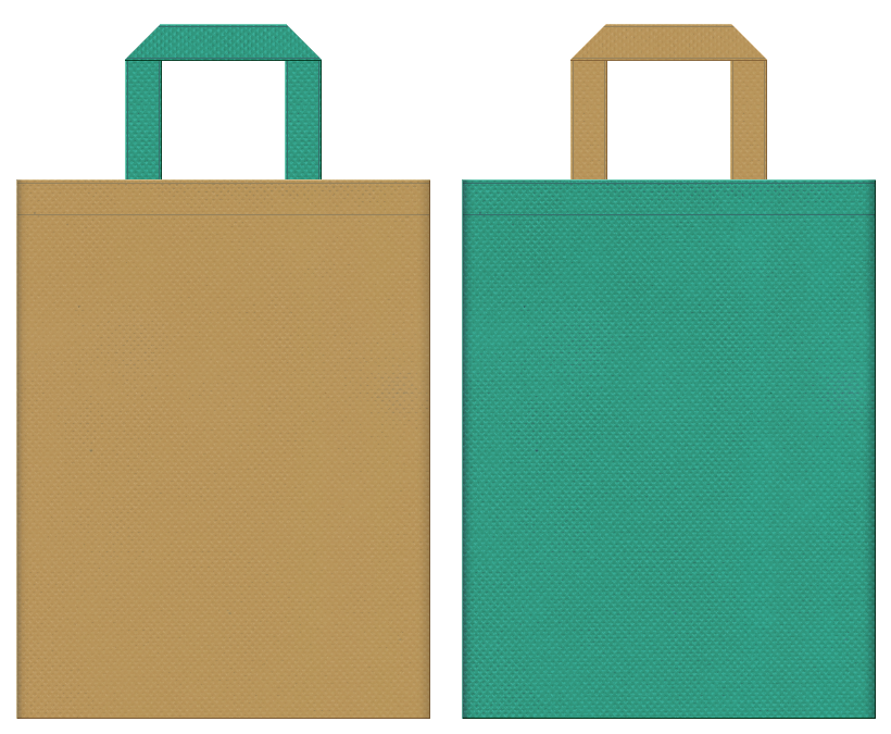 不織布バッグの印刷ロゴ背景レイヤー用デザイン:金色系黄土色と青緑色のコーディネート