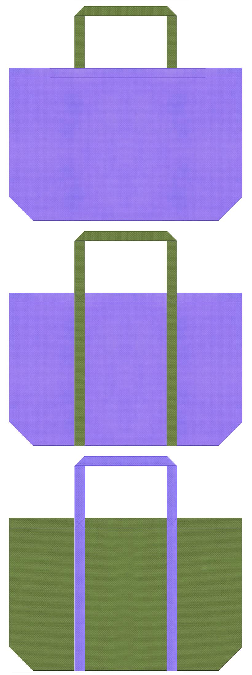 薄紫色と草色の不織布ショッピングバッグデザイン。