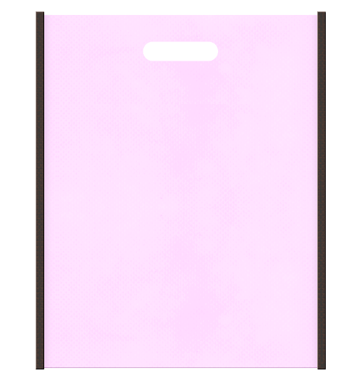 不織布小判抜き袋 メインカラー明るめのピンク色、サブカラーこげ茶色