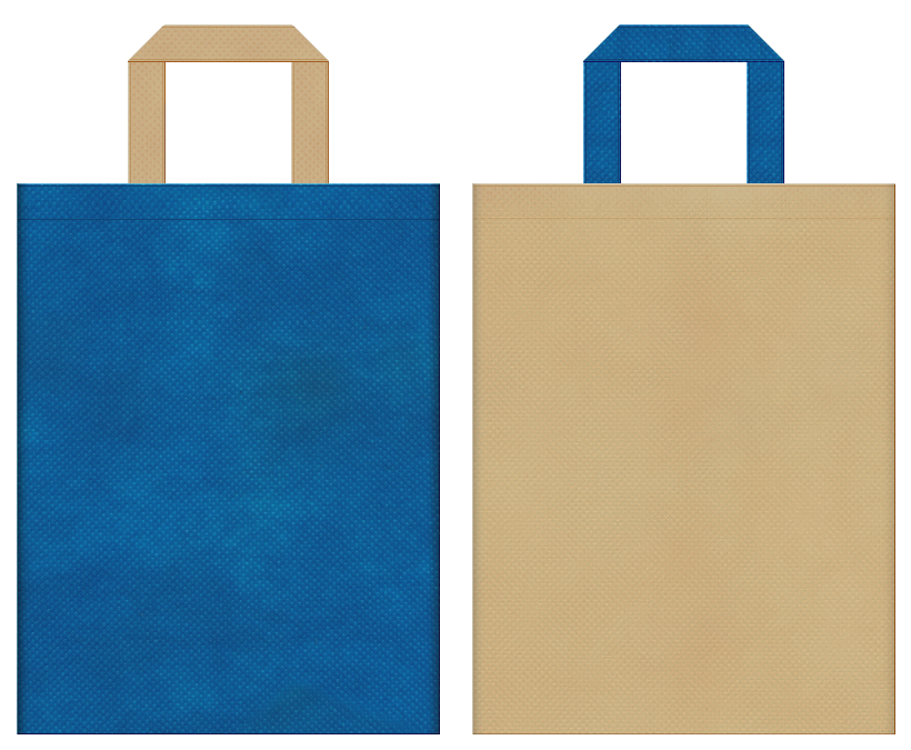 オンラインゲーム・ロールプレイングゲーム・ゲームのイベントにお奨めの不織布バッグデザイン:青色とカーキ色のコーディネート