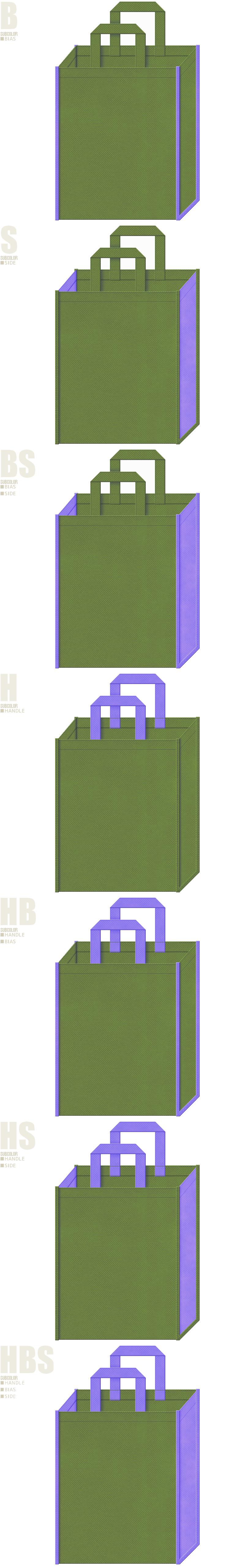 草色と明るめの紫色、7パターンの不織布トートバッグ配色デザイン例。和風催事・生け花教室にお奨めです。花菖蒲風。