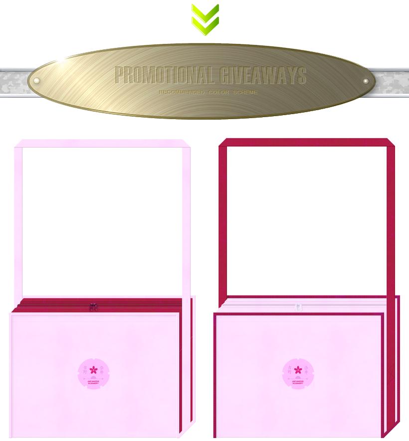 パステルピンク色と濃いピンク色の不織布バッグデザイン:お花見ツアー・観光旅行のノベルティバッグ