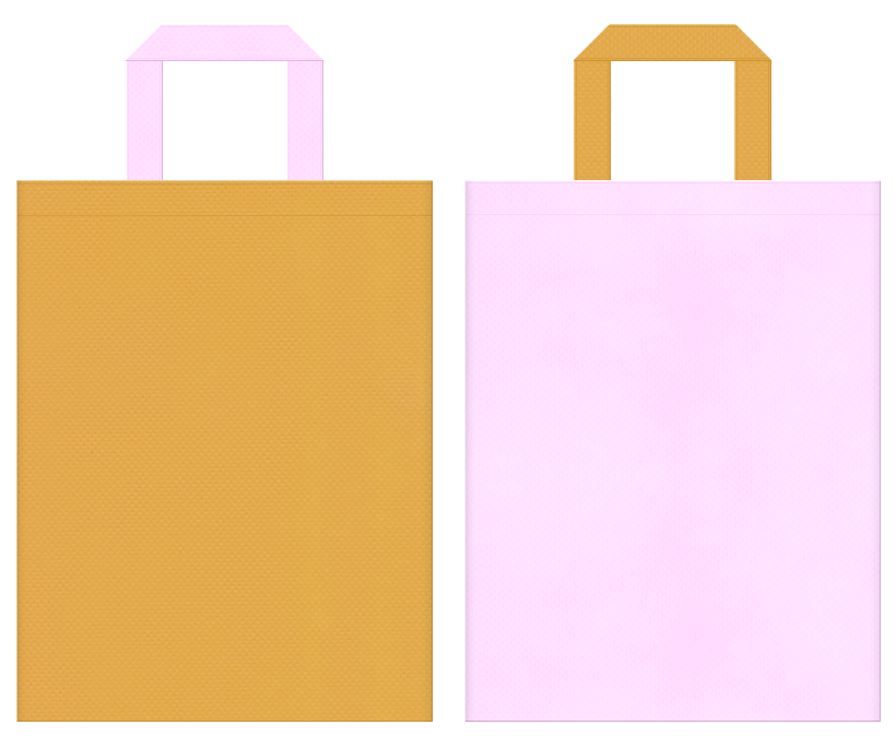 不織布バッグの印刷ロゴ背景レイヤー用デザイン:黄土色と明るいピンク色のコーディネート