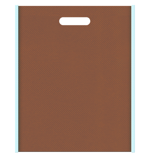 ミントチョコレート風の配色です。不織布小判抜き袋デザイン:メインカラー茶色、サブカラー水色
