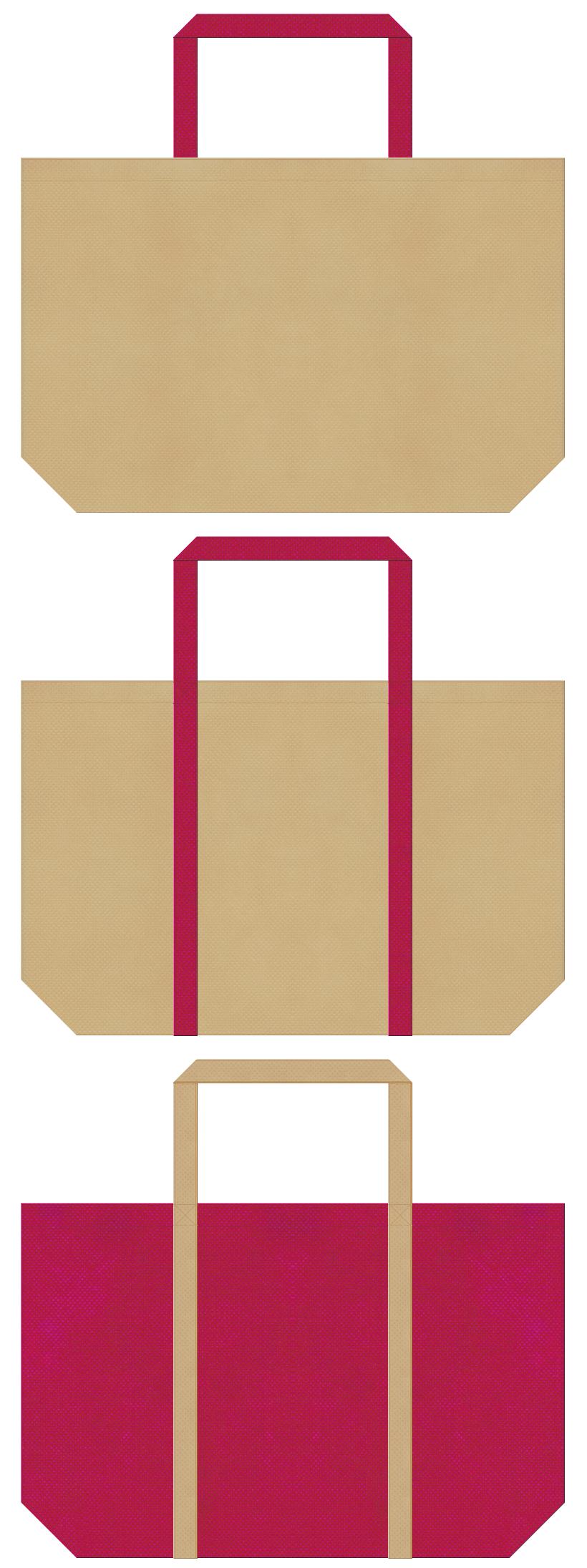 カーキ色と濃いピンク色の不織布バッグデザイン。和雑貨のショッピングバッグ、和風柄にお奨めです。