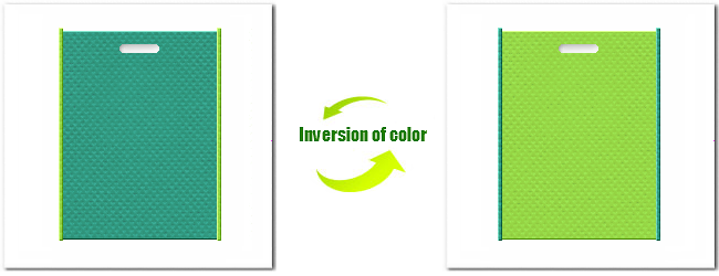 不織布小判抜き袋:No.31ライムグリーンとNo.38ローングリーンの組み合わせ
