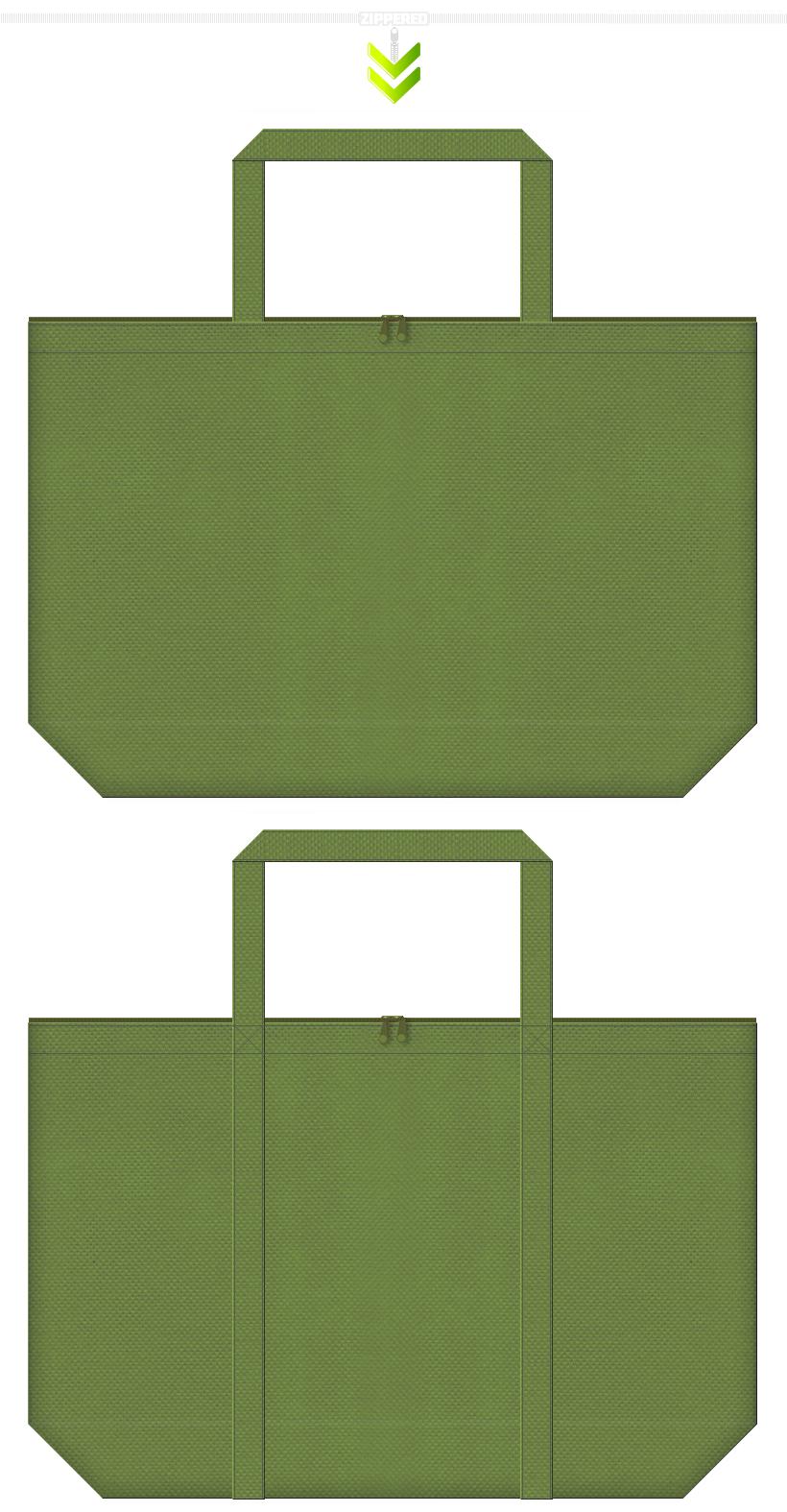 ファスナーの付いた和風エコバッグにお奨め。草色・オリーブ色の不織布バッグ