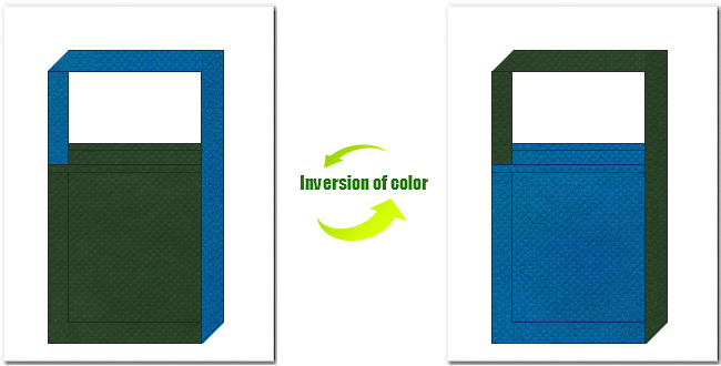 濃緑色と青色の不織布ショルダーバッグのデザイン
