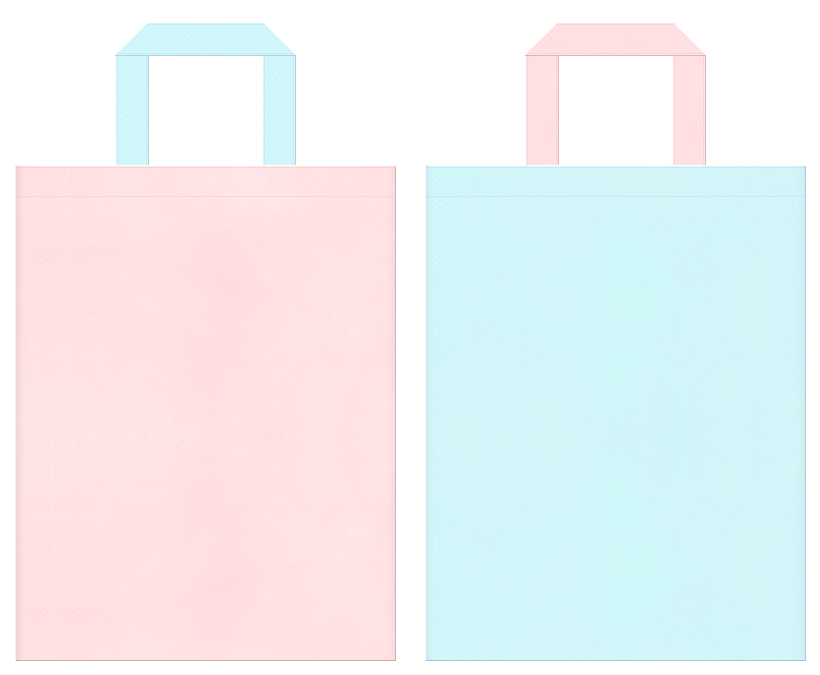 女子イベント・パステルカラー・桜・お花見・ファンシー・プリティ・お姫様・人魚・マカロン・ガーリー・フェミニン・石鹸・入浴剤・バス用品の販促イベントにお奨めの不織布バッグデザイン:桜色と水色のコーディネート