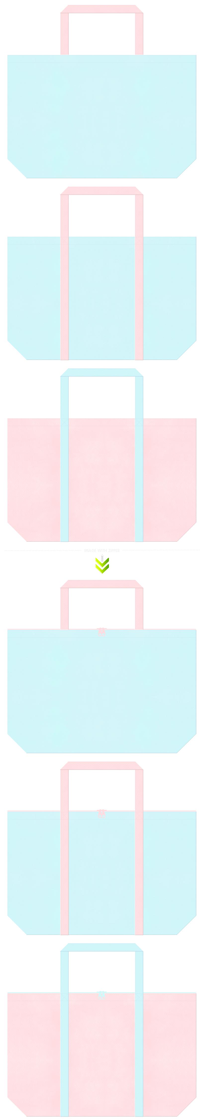 水色と桜色の不織布エコバッグのデザイン。浴衣・石鹸・シャンプー・入浴剤・バス用品にお奨めの配色です。