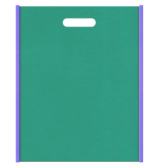 不織布バッグ小判抜き メインカラー青緑色とサブカラー薄紫色の色反転