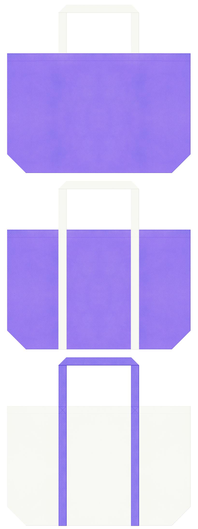 薄紫色とオフホワイト色の不織布ショッピングバッグデザイン。医療・楽団ユニフォーム・バレエ衣装のショッピングバッグにお奨めです。