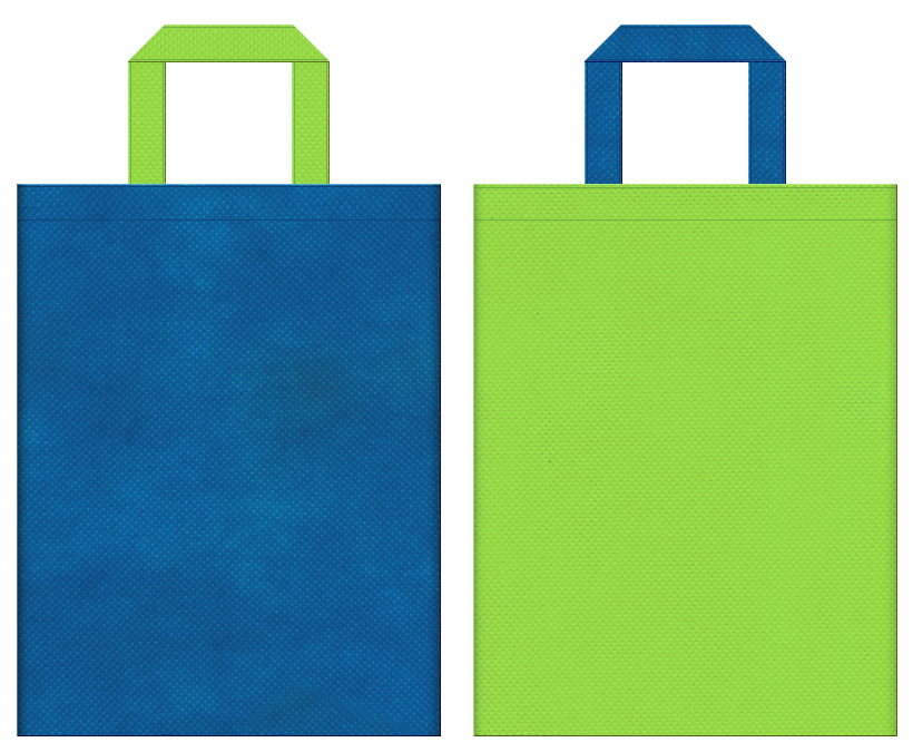 不織布バッグの印刷ロゴ背景レイヤー用デザイン:青色と黄緑色のコーディネート:スポーツイベントにお奨めの配色です。