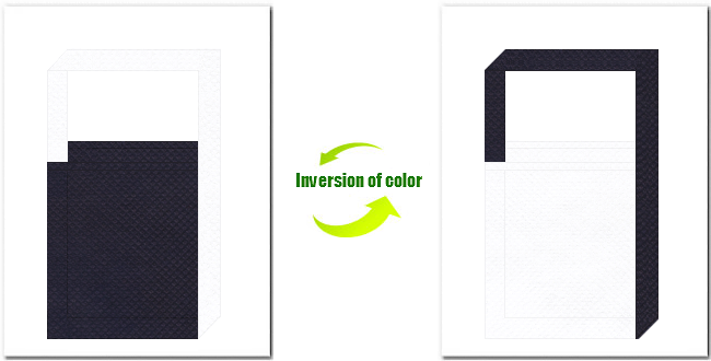 濃紺色と白色の不織布ショルダーバッグのデザイン:インディゴデニム・カジュアルなイメージ・マリンルックにお奨めの配色です。