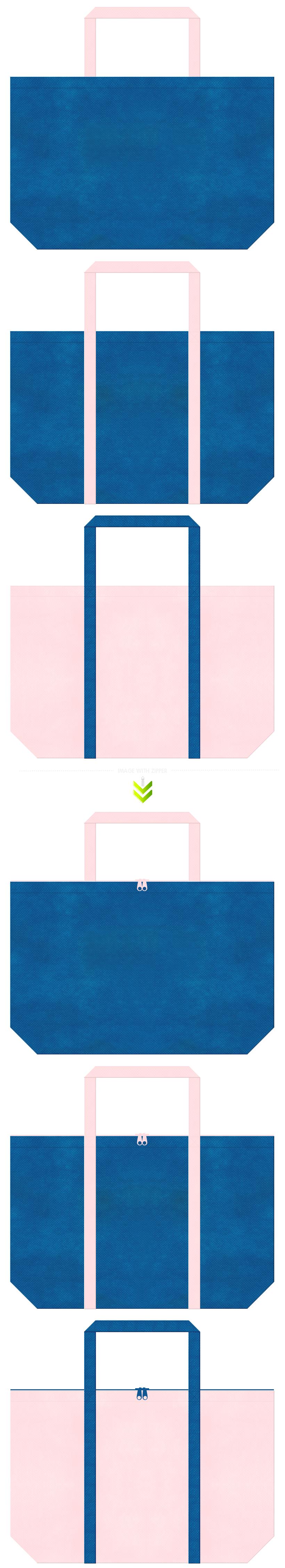 青色と桜色の不織布ショッピングバッグのデザイン