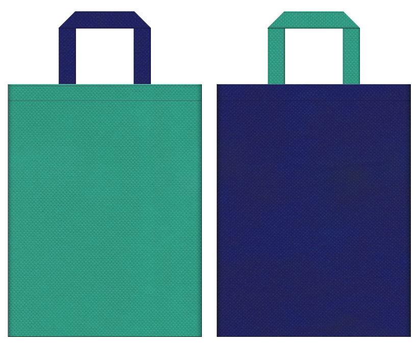 春夏・マリンルック・リーフ・ダイビング・釣具・渓流・湖面・ユニフォーム・運動靴・アウトドア・スポーティーファッション・スポーツ用品・スポーツイベントにお奨めの不織布バッグデザイン:青緑色と明るい紺色のコーディネート