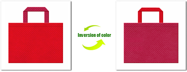 紅色と濃いピンク色の不織布バッグコーディネート