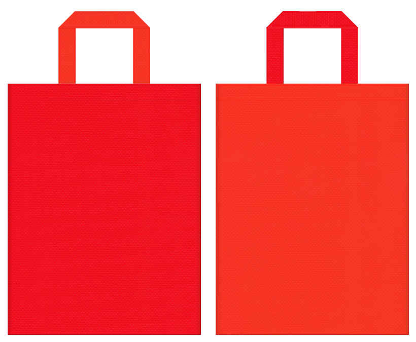 タバスコ・ラー油・激辛・サプリメント・太陽・エネルギー・暖房器具・スポーツ・キャンプ・バーベキュー・アウトドア・紅葉・観光・秋のイベントにお奨めの不織布バッグデザイン:赤色とオレンジ色のコーディネート