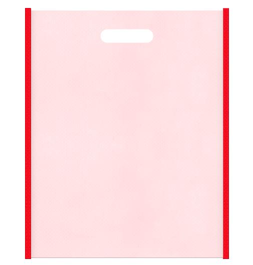 母の日ギフトにお奨めです。不織布小判抜き袋のデザイン:メインカラー桜色とサブカラー赤色