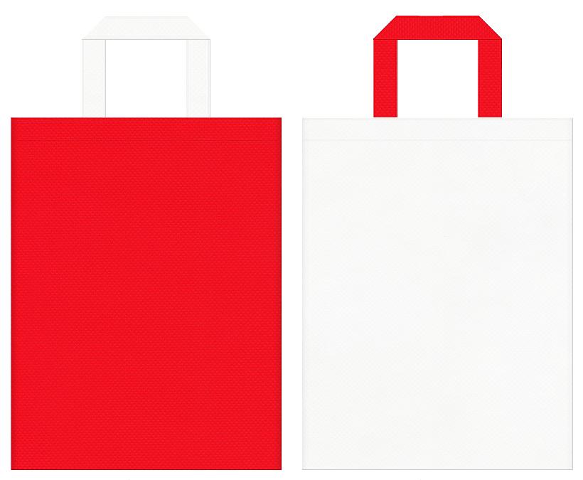 誕生日・ショートケーキ・サンタクロース・クリスマスにお奨めの不織布バッグデザイン:赤色とオフホワイト色のコーディネート