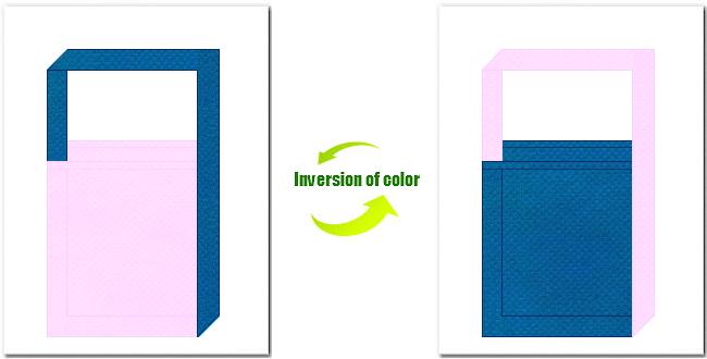 明ピンク色と青色の不織布ショルダーバッグのデザイン