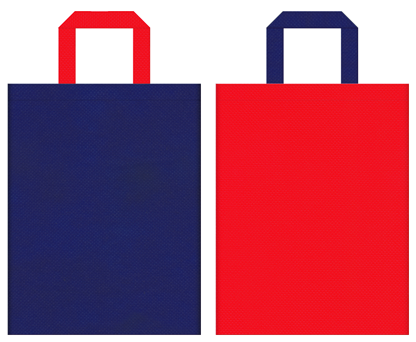 不織布バッグの印刷ロゴ背景レイヤー用デザイン:明るい紺色と赤色のコーディネート:夏祭り・花火大会・金魚すくいのイメージで夏のイベントにお奨めの配色です。