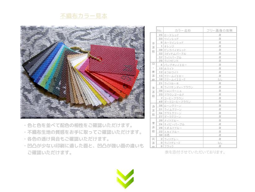 不織布バッグ制作の流れ:6.不織布カラー見本のご送付