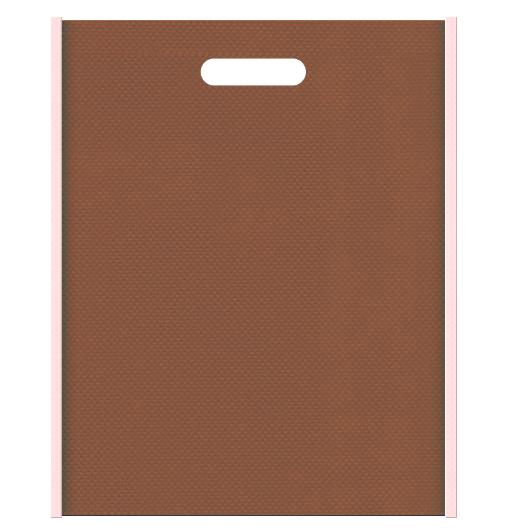 お菓子のギフト用バッグにお奨めの不織布小判抜き袋デザイン:メインカラー茶色、サブカラー桜色