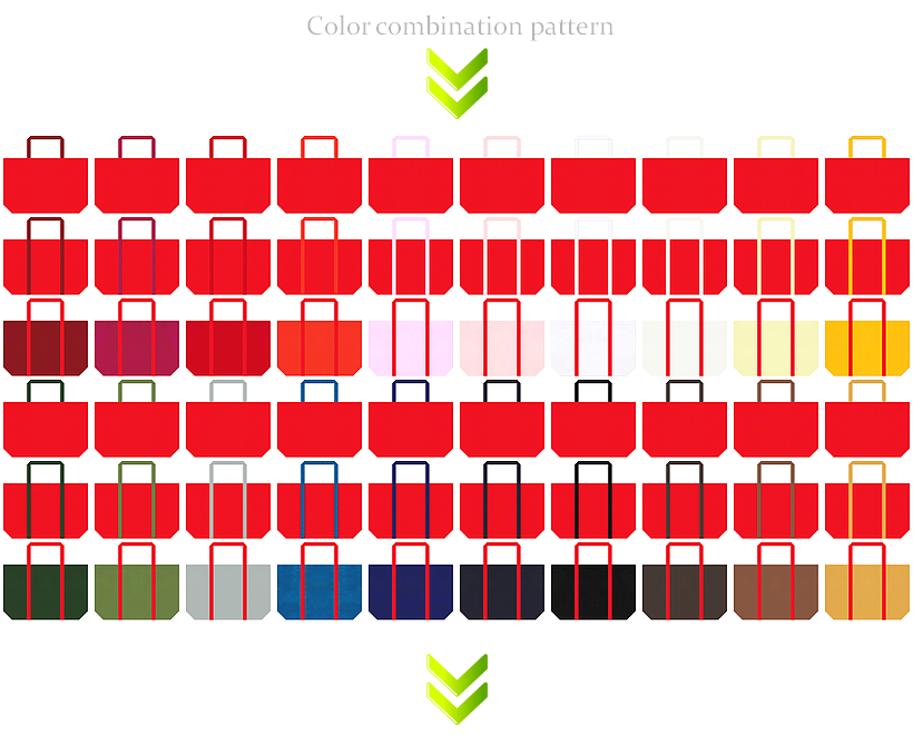 紅葉・おもちゃ・ホビー・クリスマスセール・ひな祭りセール・節分セール・母の日のショッピングバッグ・福袋にお奨めの不織布ショッピングバッグのデザイン:赤色のコーデ