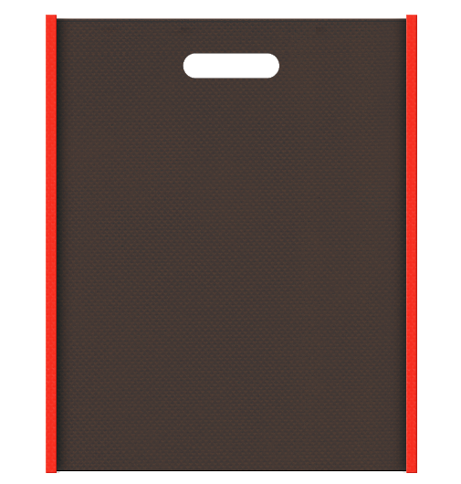 ハロウィンギフト包装にお奨めの不織布小判抜き袋デザイン:メインカラーこげ茶色、サブカラーオレンジ色