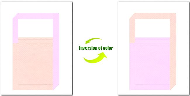 桜色と明ピンク色の不織布ショルダーバッグのデザイン