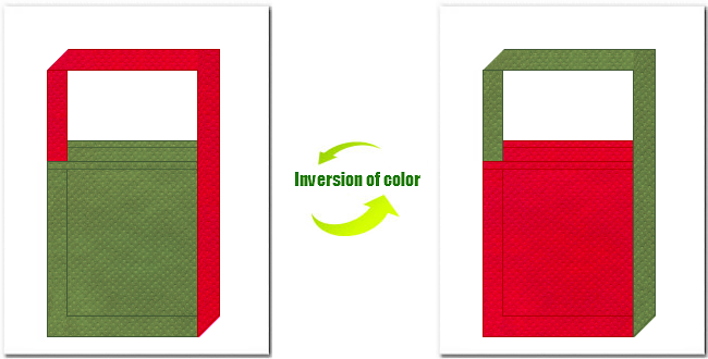 草色と紅色の不織布ショルダーバッグのデザイン:茶会イメージの配色で、和風柄にお奨めです。