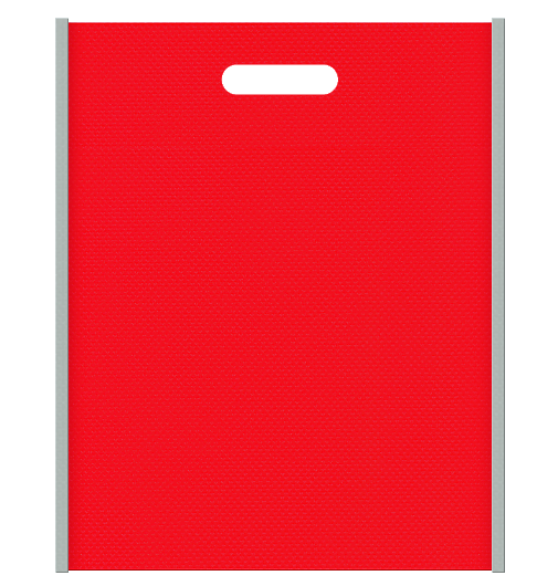 不織布バッグ小判抜き メインカラーグレー色とサブカラー赤色の色反転