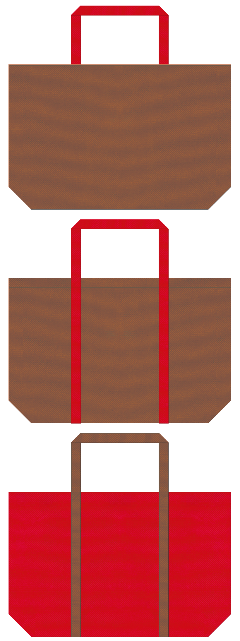 茶色と紅色の不織布ショッピングバッグデザイン。クリスマスのショッピングバッグにお奨めです。