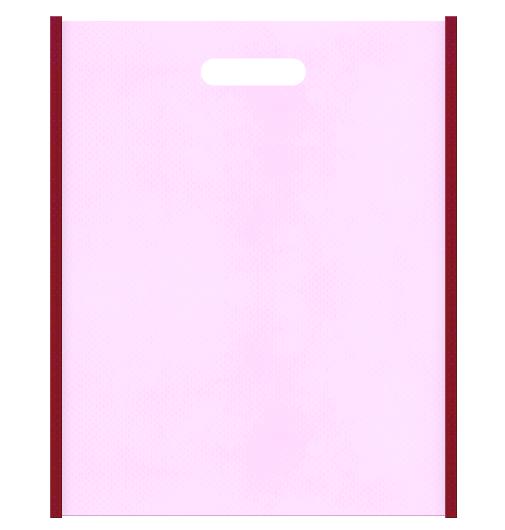 不織布小判抜き袋のデザイン。メインカラー明るめのピンク色とサブカラーエンジ色。Girlyな和風小物のショッピングバッグにお奨め。